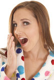 Woman yawn pola dot robe head Royalty Free Stock Image