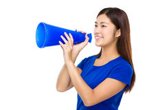 Woman yell with megaphone. Isolated on white background Stock Photography
