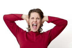 Woman yelling royalty free stock images