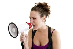 Woman yelling into a bullhorn Royalty Free Stock Photography