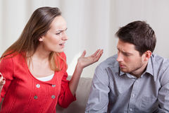 Woman yelling at her man Royalty Free Stock Images
