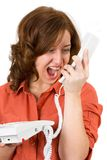 Woman yelling on phone Royalty Free Stock Image