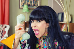 Woman Yelling at Phone Stock Photography