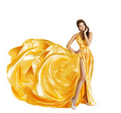 Woman Dress, Gown Cloth Fabric Flower, White. Woman in Yellow Art Silk Dress, Gown Cloth Fabric as Flower, Beauty Girl on White stock image