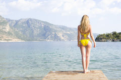 Woman In Yellow Bikini Stand At Lake Edge Stock Photography