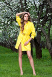 Woman in a yellow coat Stock Photography