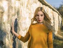Woman In Yellow Crew-neck Sweatshirt Stock Photo