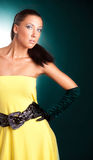 Woman in yellow dress Royalty Free Stock Image
