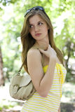 Woman in yellow dress Royalty Free Stock Photo