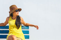 Woman in yellow dress Royalty Free Stock Photos
