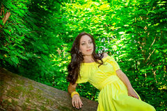 Woman in  yellow dress in the forest. The concept of expectat. A woman in a yellow dress in the forest Stock Images
