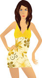 Woman yellow dress illustration. Illustration with young woman in yellow dress Royalty Free Stock Photo