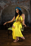 Woman in Yellow Dress Royalty Free Stock Images