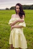 Woman in yellow dress stands in a field Royalty Free Stock Images