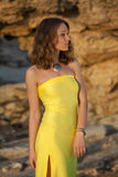Woman in yellow dress Stock Photo