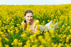 woman on yellow field Stock Photography
