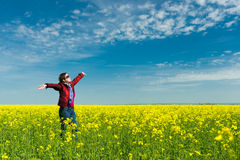 Woman in yellow field of rape Royalty Free Stock Photography