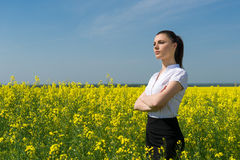 Woman in yellow flower Royalty Free Stock Photography