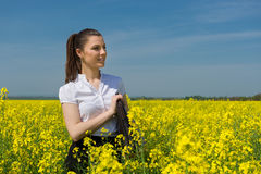 Woman in yellow flower Royalty Free Stock Photo