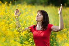 Woman in yellow flowers Royalty Free Stock Photo