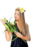 Woman with yellow flowers Royalty Free Stock Photo
