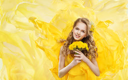 Woman and Yellow Flowers Bouquet Dandelion, Young Model Portrait Royalty Free Stock Photo