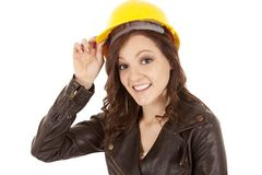 Woman yellow hat hold Royalty Free Stock Photos