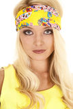 Woman yellow headband close serious Royalty Free Stock Image