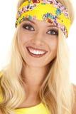 Woman yellow headband close smile Stock Photos
