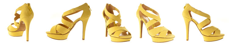 Woman yellow high heels shoes Royalty Free Stock Photo