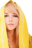 Woman in yellow hood Stock Photography
