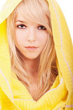 Woman in yellow hood Royalty Free Stock Photo