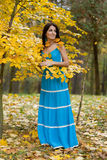 Woman with yellow leaves Stock Photo