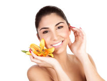 Woman with yellow lily Royalty Free Stock Photo