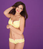 Woman in yellow lingerie Royalty Free Stock Photos