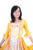 Woman in yellow medieval dress over white Royalty Free Stock Photos