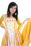 Woman in yellow medieval dress over white Royalty Free Stock Photography