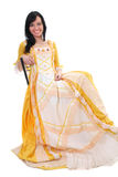 Woman in yellow medieval dress over white Stock Photos