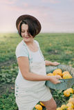 Woman with yellow melons Stock Photos