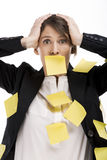 Woman with yellow paper notes Stock Photography