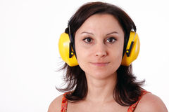 Woman in yellow protective receivers Stock Photography