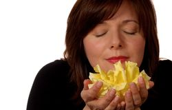 Woman With Yellow Rose royalty free stock image