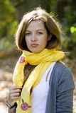 Woman in yellow scarf royalty free stock image