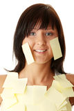 Woman with yellow sticky notes Stock Photo