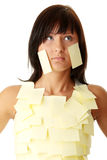 Woman with yellow sticky notes Royalty Free Stock Images