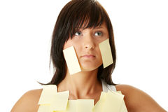Woman with yellow sticky notes Stock Images