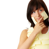 Woman with yellow sticky notes Royalty Free Stock Photos