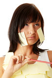 Woman with yellow sticky notes Stock Photography