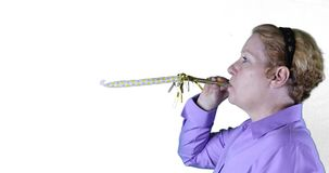 Woman with yellow streamer, right side, 4K stock footage