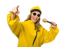 The woman in yellow suit isolated on white Stock Image